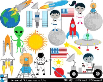 Moon Landing Digital Clip Art Graphics Personal, Commercial Use 99 images cod176