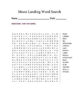 Moon Landing Word Search