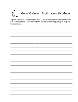 Moon Madness-Extended Response Writing Strategy- S(T)ART
