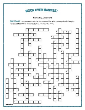 Moon Over Manifest: 50-Word Prereading Vocab Crossword—Great Prep for the Book!