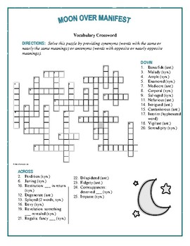 Moon Over Manifest: Synonym/Antonym Vocabulary Crossword—Unique!