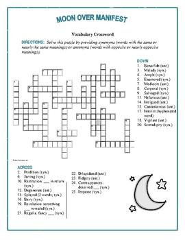 Moon Over Manifest: Synonym/Antonym Vocabulary Crossword--Fun!