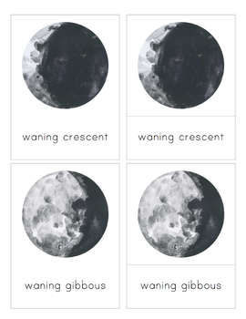 Moon Phase 3-Part Nomenclature Cards- Montessori