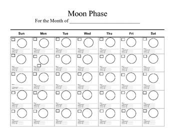moon phase blank calender by karon decker teachers pay teachers