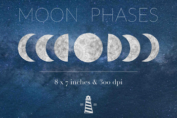 Moon Phase Clipart, Astrology Clipart, Full & Half Moon Images