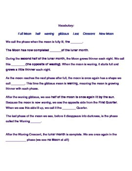Moon Phase Cloze Notes - Simple