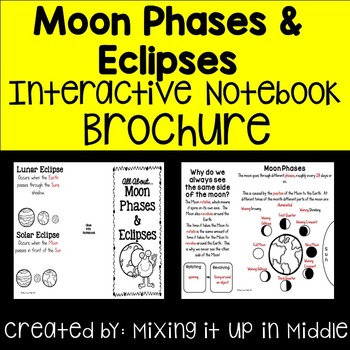 Moon Phase & Eclipses Interactive Notebook Brochure