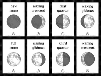 Moon Phase Trading Card Activities and Word Wall