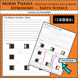 Earth Space Science Astronomy Moon Phase Notetaking, Picture Sequencing Labeling