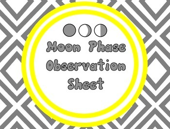 Moon Phase Observation Recording Sheet