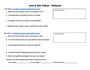 Moon Phase Review and Eclipses Webquest
