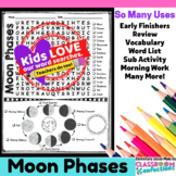 Moon Phases Activity: Moon Phases Word Search: Vocabulary