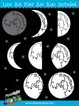Moon Phases Clip Art Collection