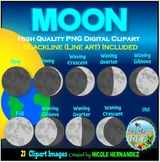 Moon Phases Clip Art for Personal and Commercial Use