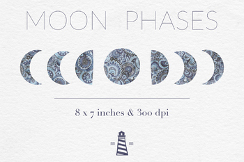 Moon Phases Clipart, Lunar Graphics, Patterned Moon Images, Astrology Clipart