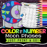 Moon Phases Color by Number - Science Color By Number Worksheet