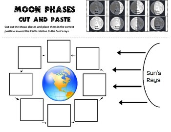 Moon Phases Cut and Paste Practice by Scienceisfun   TpT