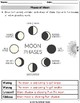 Moon Phases: Draw/Labeling Phases, Matching Phase Pictures, Card Sort Worksheets