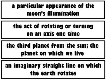Moon & Moon Phases Pocket Chart Vocabulary (EDITABLE)