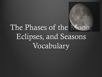 Moon Phases, Eclipses, and Seasons Vocabulary Powerpoint