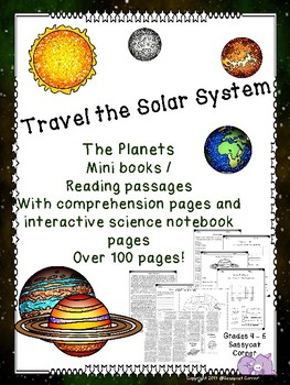Planets in our Solar System Foldable Minibook and Comprehension sheets bundle