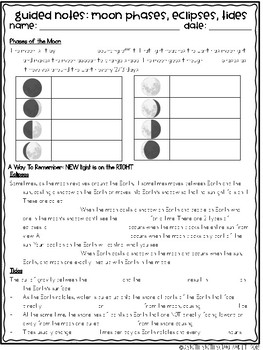 Moon Phases Eclipses and Tides Notes and Activities