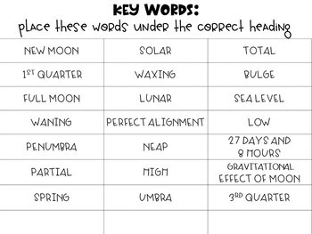 Moon Phases, Eclipses, and Tides Word Sort