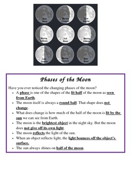 Moon Phases Interactive Notes 4th Grade Science