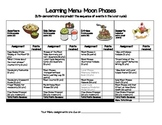 Moon Phases Learning Menu/Choice Board ONLY-PDF