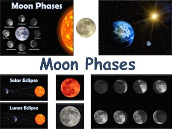 Moon Phases Lesson & Flashcards-classroom unit study guide exam prep 2018 2019