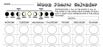 Moon Phases Lunar Cycle foldable Interactive Notebook 5th 6th 7th 8 jr high NGSS