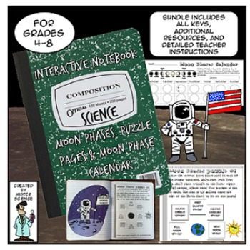 Moon Phases Lunar Cycle foldable Interactive Notebook 5th