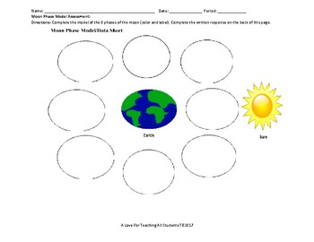 Moon Phases Model and Writing Assessment with Rubric