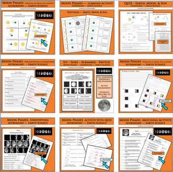 BUNDLE Moon Phases Pack 9 Separate Activities Earth Science Astronomy Lessons