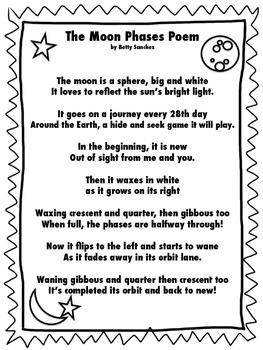 Moon Phases Poem FREE Easy to Read Font
