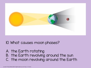 Moon Phases Power Point Quiz & Quick Writes Assessment Made Easy
