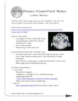 Notes & Quiz for Moon Phases PowerPoint