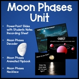 Moon Phases PowerPoint with Student Notes Decoder Flip book and Necklace