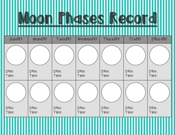 Moon Phases Recording Sheet