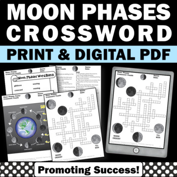 Phases of the Moon Review, Moon Phases Worksheet, Earth Sc