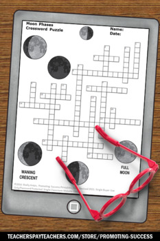 Lunar Cycle, Phases of the Moon Worksheet, Science Crossword Puzzle