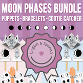 Moon Phases Stick Puppets, Bracelets and Cootie Catchers BUNDLE