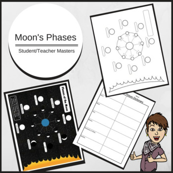 Moon Phases Student Diagram with Picture Dictionary and Master