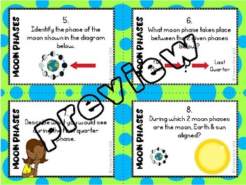 Moon Phases Task Cards - with or without QR codes