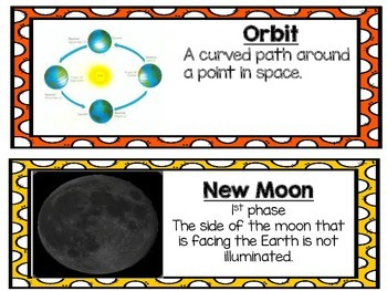 Moon Phases Vocabulary Cards 4.E.1.1 and 4.E.1.2