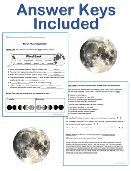 Moon Phases, Waxing & Waning Quiz