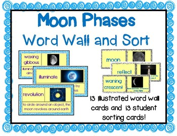 Phases of the Moon Word Wall Cards and Student Sort