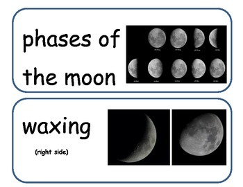 Phases of the Moon Word Wall Words With Pictures
