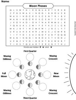 moon phases worksheet word search by science spot tpt Moon Phases Worksheet 5th Grade moon phases worksheet word search