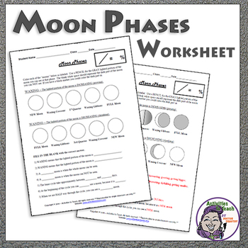Moon Phases Worksheet for Middle School Earth Science